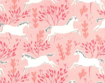 Blossom Unicorn Forest Flannel from Sarah Jane for Michael Miller - cotton flannel FD7191-BLSM pink unicorns white forest