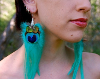 MYSTIC PEACOCK Long Feather Earrings