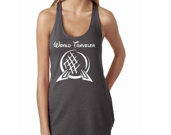 Disney Shirt Women's Tank Top with Epcot's Spaceship Earth and text World Traveler Perfect for trip to Epcot in Disney World