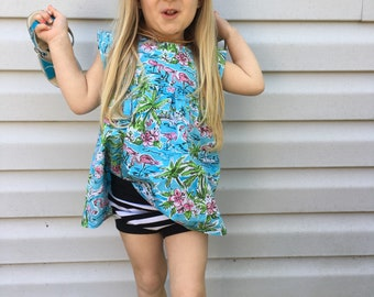 Girls clothing, toddler clothing, summer kids clothing, flamingo clothing, girls tops, cap sleeve top, modern kids clothing