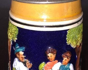 Bavarian Beer Stein W Germany 1960s T Original Lovely Colorful Design West German