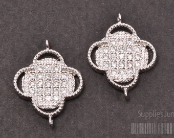 P300-01-R// Rhodium Plated framed Cubic Clover Pendant, 1pc