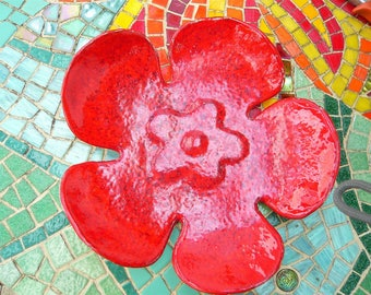Handmade Cup ceramic flower red to decorate his home