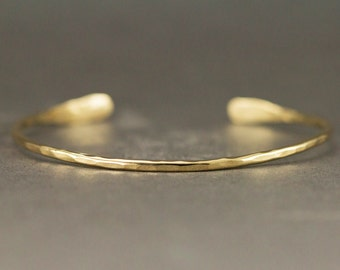 18k Gold Cuff Bracelet- Hammered Gold Cuff 1.6mm or 2mm Widths - Simple Thin Gold Cuff