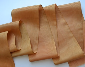 French Moire millinery ribbon, antique, gold colour- 3.625 inch wide. Price per 12 inch length. Vintage