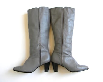 Vintage Boots 70s Grey Leather Boots | Tall Riding Boots, 7 38
