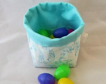Easter Egg Hunt Bag - Pencil Peter Rabbit and Friends Drawstring Bag - Easter Gift - Easter Bunny - Reversible - Freestanding - Handmade