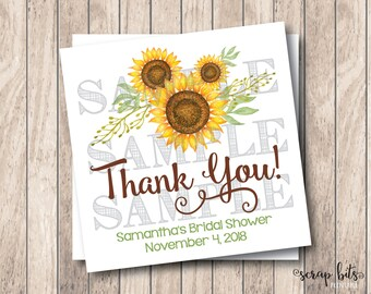 Personalized Printable Sunflower Tags, Sunflower Bridal Shower Labels, Watercolor Sunflower Tags, DIY Wedding Tags, DIY Baby Shower Tags