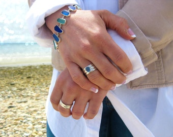 Sea Glass Stack Rings | Set of 3 Rings | Sterling Silver & Authentic Sea Glass Ring | Eco Friendly | Hand made | Sea Glass