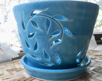 Large Handmade Porcelain Orchid Pot in Turquoise Blue