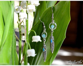 DreamCatcher turquoise feather style earrings