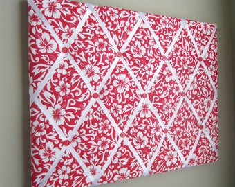 "16""x20"" Red & White Hibiscus Memory Board, French Memo Board, Fabric Memo Board, Vision Board, Dream Board, Ribbon Board, Bow Board"