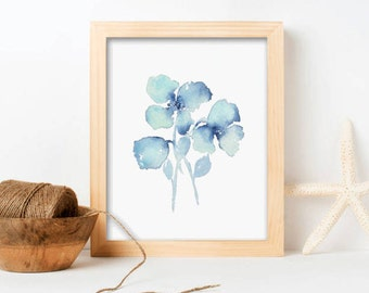 Wall Art Blue Flower Abstract Flowers Gift For Her Original Watercolor Art Print - Floral 3