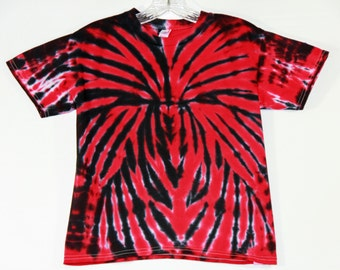 Red and Black Spider Tie Dye Short Sleeve Youth Small