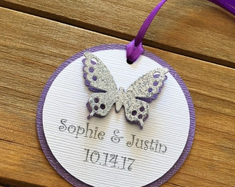 12 Butterfly Tags, Butterfly Favor Tag, Butterfly Thank You Tag, Wedding Favor Tag, Bridal Shower Tag, Personalized Tag, Purple Butterfly