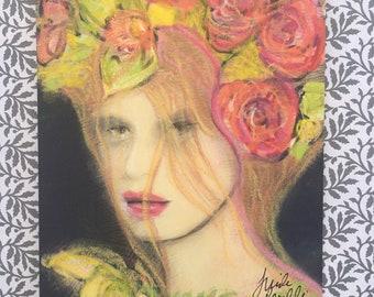 Fantasy Romantic Flower Girl Art Portait