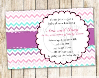 Purple Turquoise Invitation - Turquoise Pink Invitation Girl Baby Shower Invitation Purple Turquoise Baby Shower Printable Shower Invite