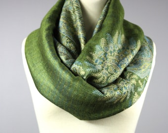 Botanical, grass green, infinity scarf, fern shawl wrap, Nature, Forest, pashmina wrap, women accessories, gift idea for her, circled scarf