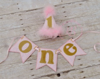 1st Birthday Banner, 1st Birthday Hat, Pink, Gold, Vintage, Couture, First Birthday High Chair Banner