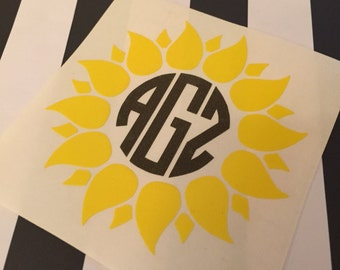 Sunflower Monogram Decal - Sunflower Decal