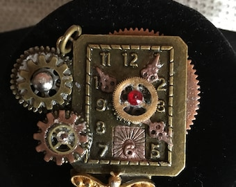 Watch Clock with Dragonfly and Swavorski Crystals Steampunk Inspired Style