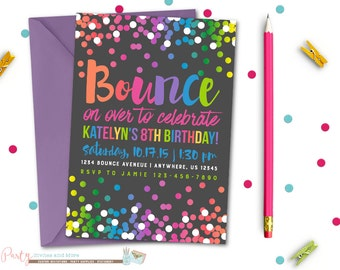 Jump Birthday Invitation, Bounce Birthday Invitation, Bounce House Party, Jump Invitation, Bounce Invitation, Trampoline Birthday Invitation