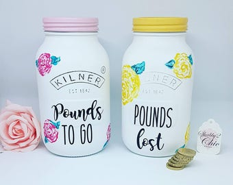 Pretty white, pink/yellow Painted Unique/Diet/Weight loss/Reward Jar Litre Kilner Money Box/Saving/Saving Fund Jar