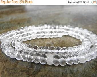 Memorial Day Sale--- Rock crystal quartz faceted rondelles/6mm/7.5inches long