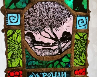 The Rowan Tree - Stained Glass Art Panel