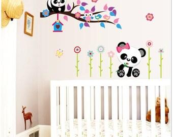 Cute Nursery Wall Decals - Pandas & Tree Branch -AW9220