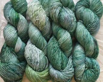 merino single - OOAK - greens with grey