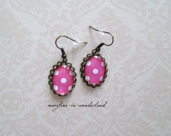 pretty pink polka dots cabochon earrings
