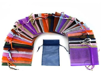 10/25/50 pcs Organza Silky Draws Ring Pouch Gift Packing Bags Mix Colors 3.5 x 5, 12cm x 9cm x 7cm