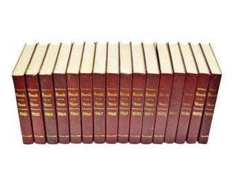 16 Volume Set of Vintage 1961 - 1976 Britannica Book Of The Year Burgundy and Gold Leather Bound Books