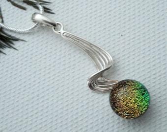 Fused glass pendant - silver setting - dichoric glass jewelry - fused glass jewelry - silver pendant - orange - OOAK