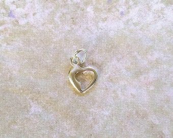Mini Dipped Open Heart Charm ~ Sterling Silver Jewelry .925 (#295) Tiny, Small, Miniature, Love, Romance, Valentine's Day Gift