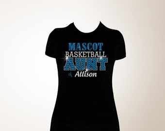 Custom Basketball Aunt Chevron Glitter and Bling Shirt, Basketball Shirt, Basketball Aunt Shirt, Bling Shirts, Aunt Bling Shirts, Bling Aunt
