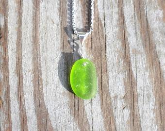 Genuine Beach Sea Glass Sterling Silver Pendant - Lime