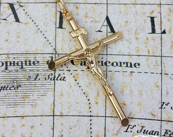 "Large 9ct Yellow Gold Crucifix Pendant Necklace 18"" 20"" 24"" for Men & Ladies"