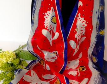 Vintage Red, White, Blue with yellow Floral Scarf