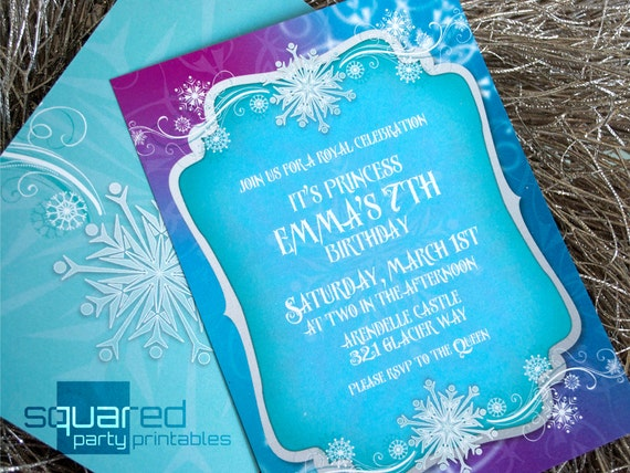 Frozen invitation printable ice princess winter snowflakes like this item solutioingenieria Image collections