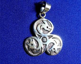 CELTIC Triple DRAGON Triskele PENDANT In Sterling Silver