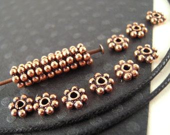 Daisy Copper Spacer Beads - Lot of 100 - 5mm Antiqued 100% Copper Metal Spacers with 1mm Holes for Jewelry Making - Fast Shipping - F049