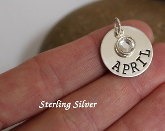 Sterling silver name charm with birthstone, 18 mm round disc hand stamped with a name or date.  Personalized name charm. Customized charm