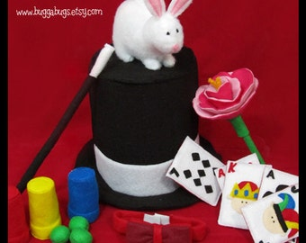 ABRACADABRA - Magic Set PDF Pattern (Hat, Wand, Bow Tie, Rabbit, Cards, Flowers, etc.)