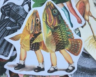 Take My Fin Joe #8 surreal collage art handmade paper sticker japan