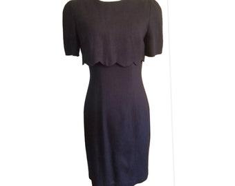 1980s Kathryn Conover New York Scalloped Overlay Vintage Black Dress