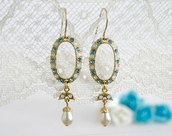 Oval earrings, Long oval earrings, Gold oval earrings, Light blue earrings, Light blue and gold earrings, Gold earrings, Long blue earrings