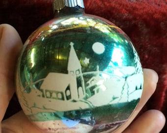 Church Ornament, Shiny Brite, Christian Ornament, Globe Ornament, Religious Ornament, Vintage Ornament, Holy Ornament, Retro Ornament
