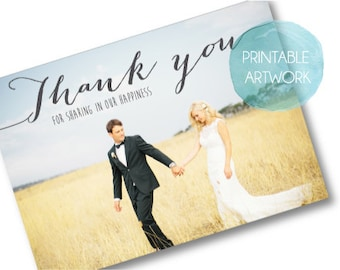 PRINTABLE Wedding Thank you postcard - Rustic - Custom Made to Order
